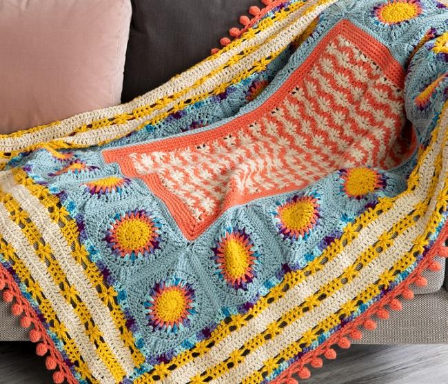 Crochet Puffy Flower Fun Day Blanket Stitch Along
