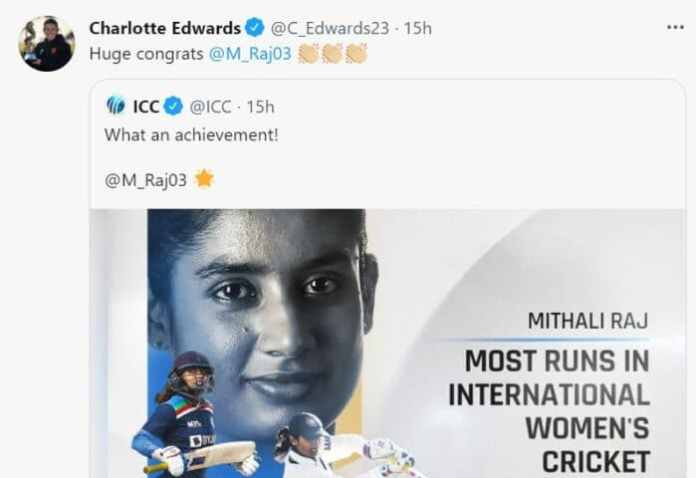 Twitter reactions: Mithali Raj becomes highest-ever women's run-scorer | Twitter reactions as Mithali Raj becomes the highest-ever run-scorer in women's cricket