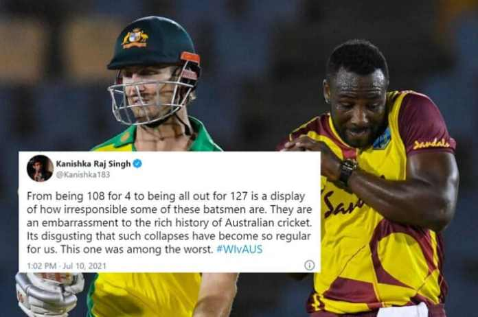Twitter reactions to Australia collapse in T20I vs WI   Australia collapse vs WI: Australia lose 6/19 to concede first T20I in St. Lucia