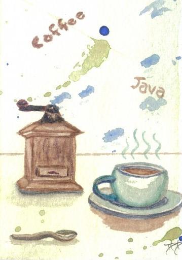 "cricketdiane - original watercolor 2.5"" x 3.5"" - coffee themed art trading cards - folksy - ""Ye Olde Coffee Grinder"" - 2007"