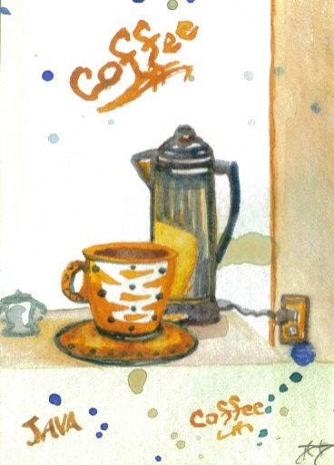 """cricketdiane - original watercolor collectible coffee themed art card by Cricket Diane C Phillips - 2007 - folksy folk art - """"Percolatin' Some Coffee"""""""