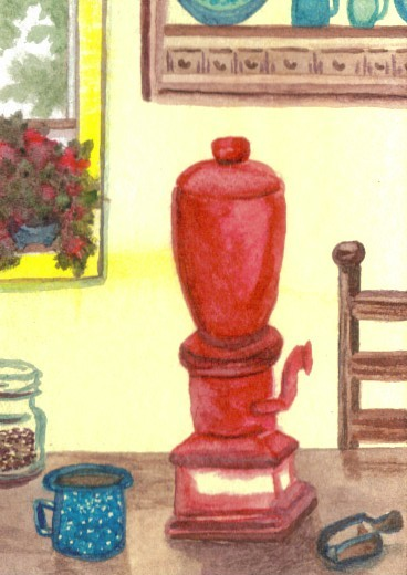 """cricketdiane - collectible original watercolors 2.5"""" x 3.5"""" - original coffee themed collectible art trading cards - 2007 by Cricket Diane C Phillips - """"Farmhouse Morning"""""""