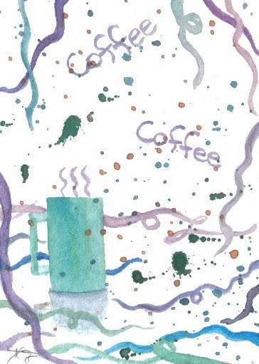 """cricketdiane - original watercolor 2.5"""" x 3.5"""" - coffee themed art trading card - """"The Morning After"""""""