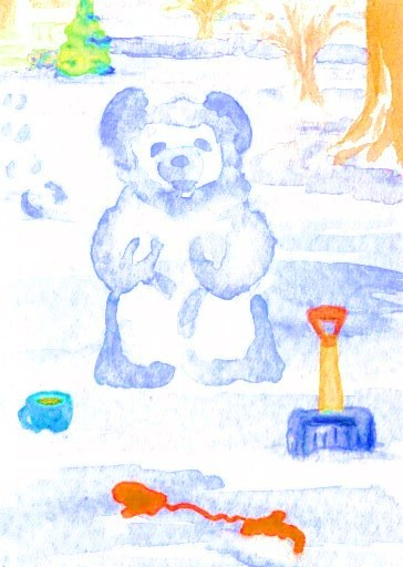 """cricketdiane - original watercolor collectible art trading cards 2.5"""" x 3.5"""" - coffee themed art trading cards 2007 by Cricket Diane C Phillips - """"Building Snow Bear With My Morning Coffee"""""""