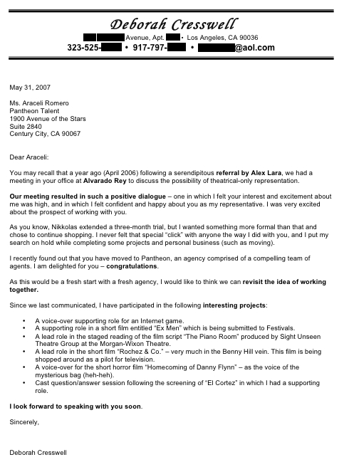 Cover letter to a talent agent  Protect Notice in Results to Posting
