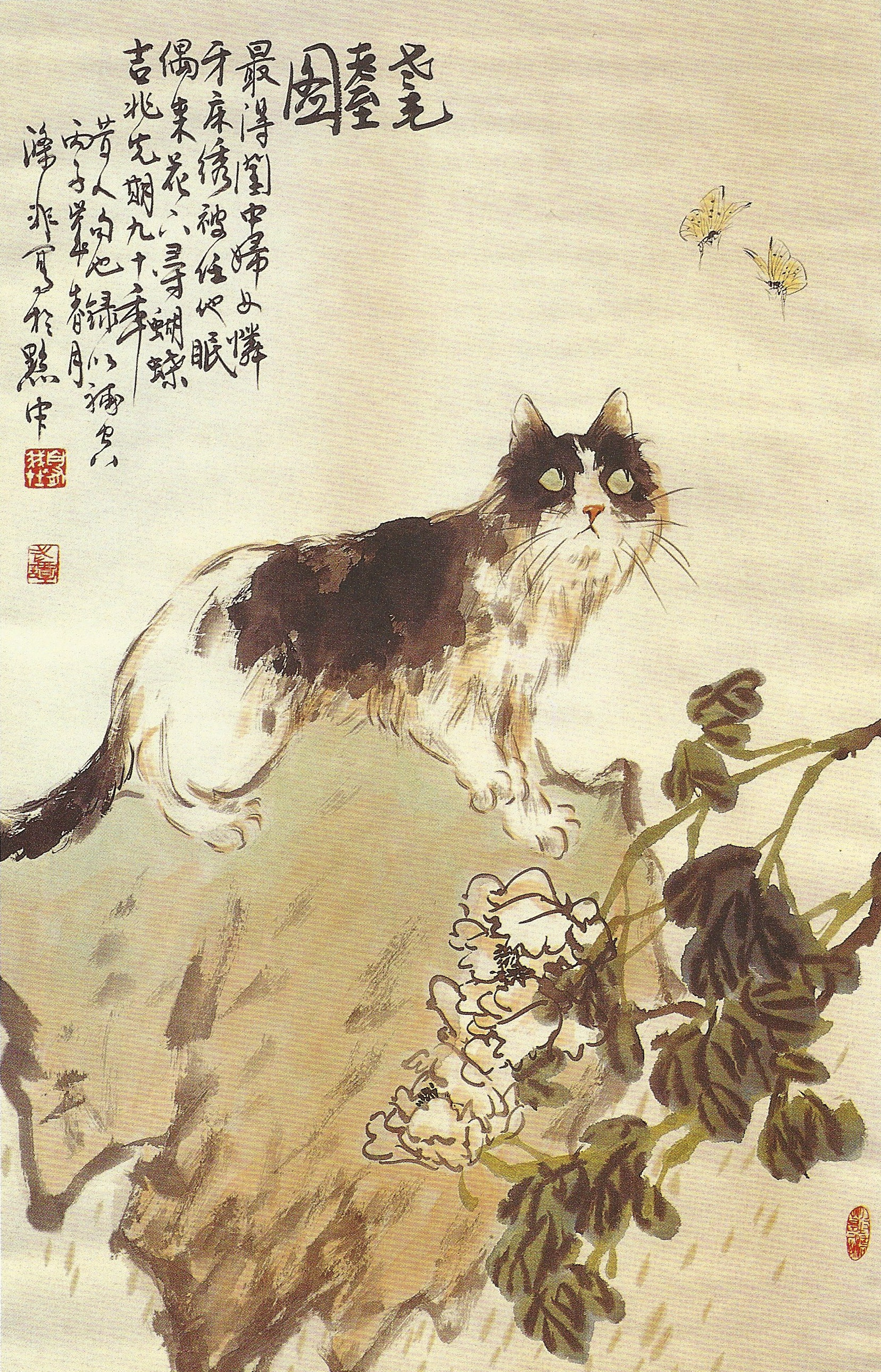 Tan Difei 谭涤非 Cat and Butterflies/ a Portrait of Age 耄耋图