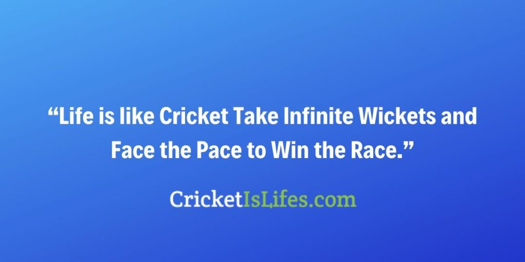 Life is like Cricket Take Infinite Wickets and Face the Pace to Win the Race.