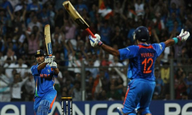 MS Dhoni hitting the six in ICC ODI World Cup 2011