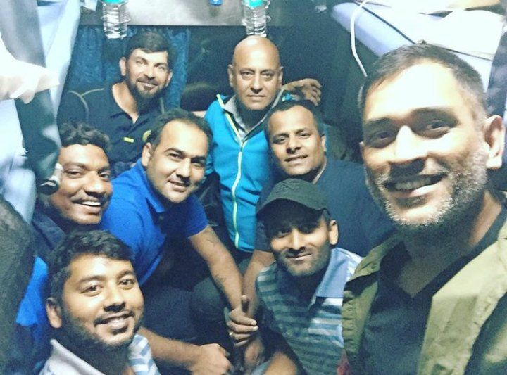 MS Dhoni in train