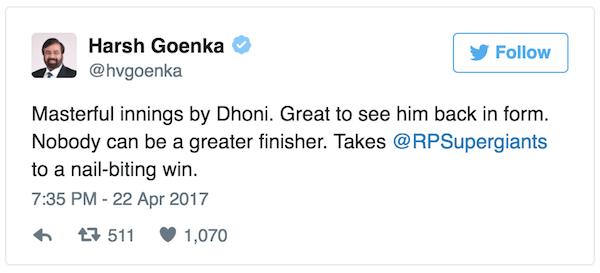 Harsh Goenka RPS tweet