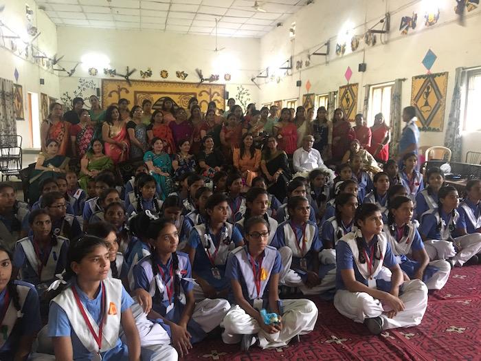 Priyanka Raina with teachers and children