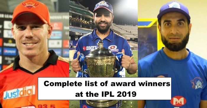 Complete list of award winners at IPL 2019