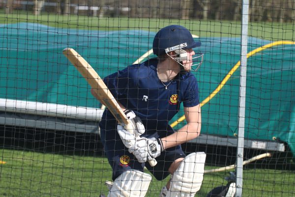 MCCU batsman waits to face in the nets
