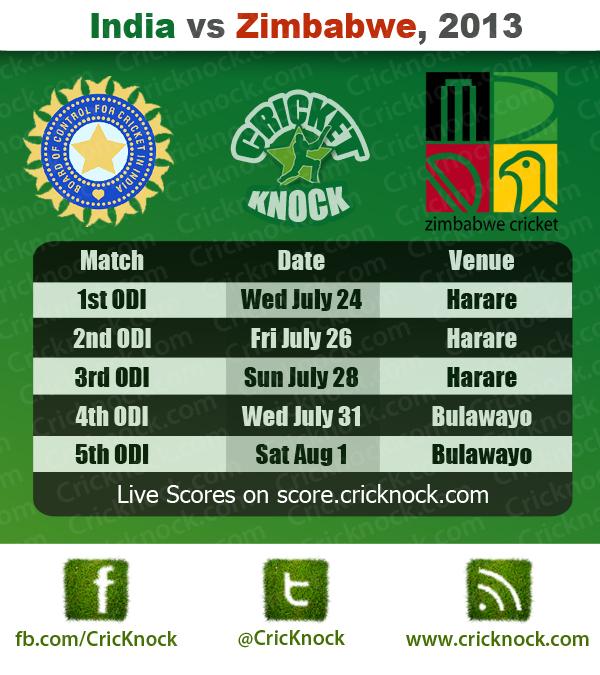 India vs Zimbabwe Fixtures 2013