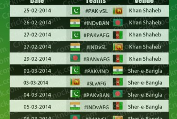 Asia Cup 2014 Fixtures
