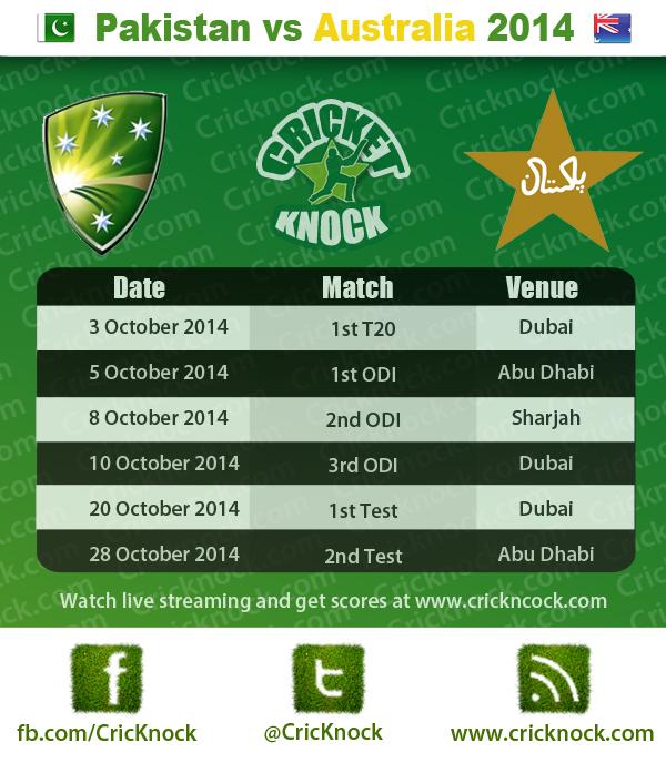 Pakistan vs Australia 2014 Fixtures