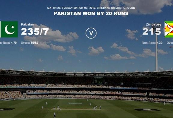 Pakistan vs Zimbabwe Highlights Cricket World Cup 2015