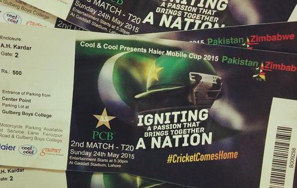 Tickets for Pakistan vs Zimbabwe matches at Gaddafi Cricekt Stadium