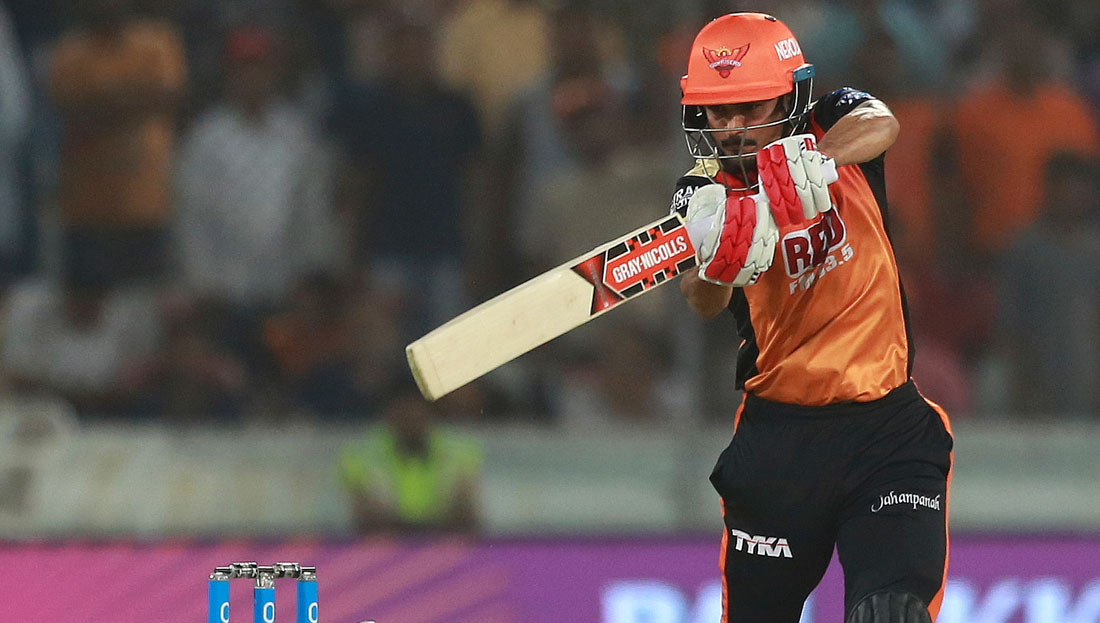 Sunrisers Hyderabad player Manish Pandey bats