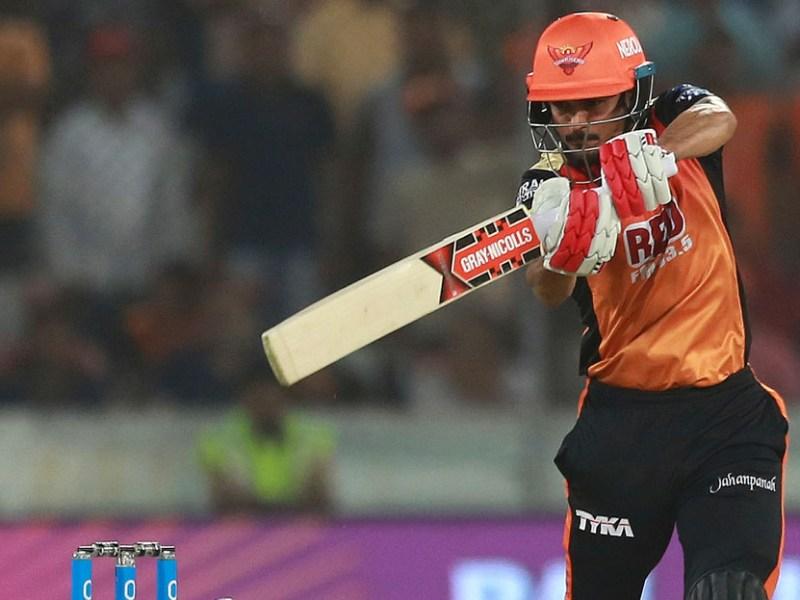 Sunrisers Hyderabad player Manish Pandey bats