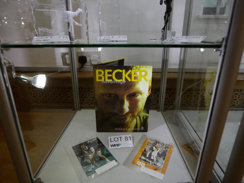 Trophies and memorabilia from the career of German tennis star Boris Becker are displayed for viewing to be sold in an online auction for which bidding ends on June 28