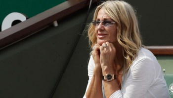 Nadia Comaneci, a Romanian former gymnast and five-time Olympic gold medalist watches the final match of the French Open tennis tournament between Romania's Simona Halep and Sloane Stephens of the U.S. at the Roland Garros stadium in Paris