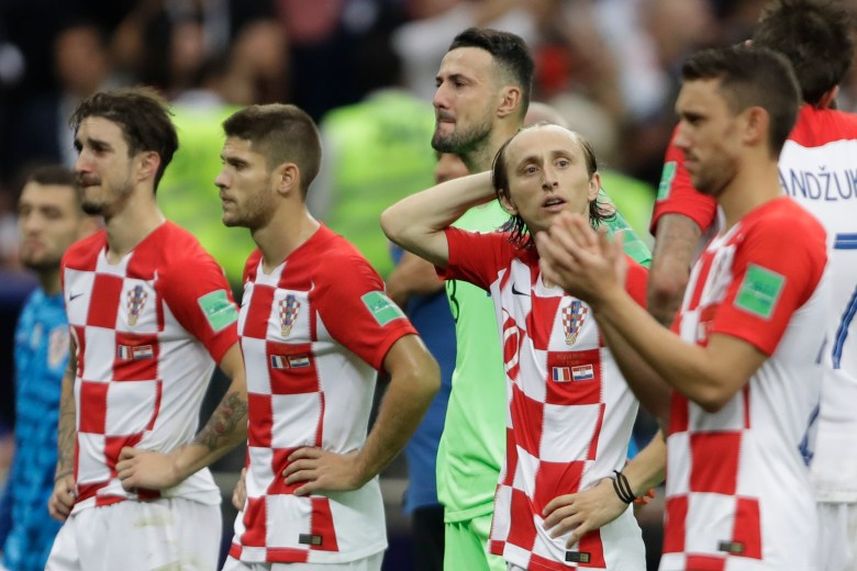Croatia's Luka Modric and teammates at the end of the final match between France and Croatia at the 2018 soccer World Cup in the Luzhniki Stadium in Moscow