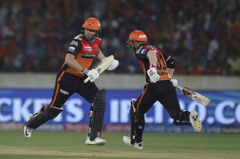 Sunrisers Hyderabad's Jonny Bairstow, left, and David Warner runs between the wickets