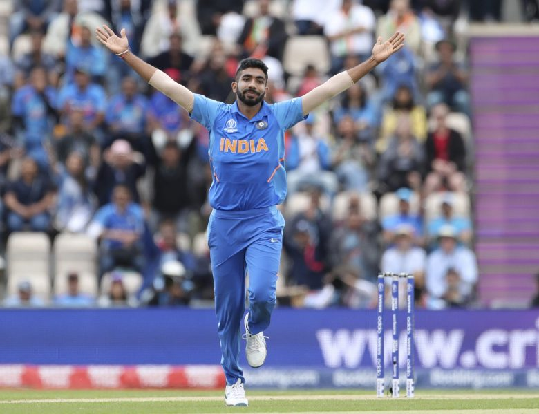 India's Jasprit Bumrah celebrates the dismissal of South Africa's Hashim Amla