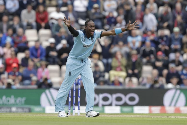 England's Jofra Archer successfully appeals for the wicket of West Indies' Sheldon Cottrell