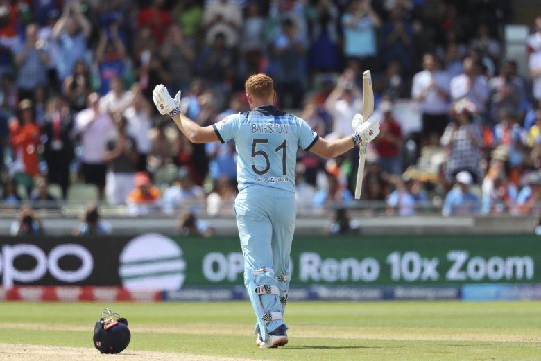England's Jonny Bairstow celebrates after scoring a century