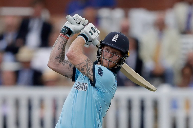England's Ben Stokes hits a four during the Cricket World Cup final match