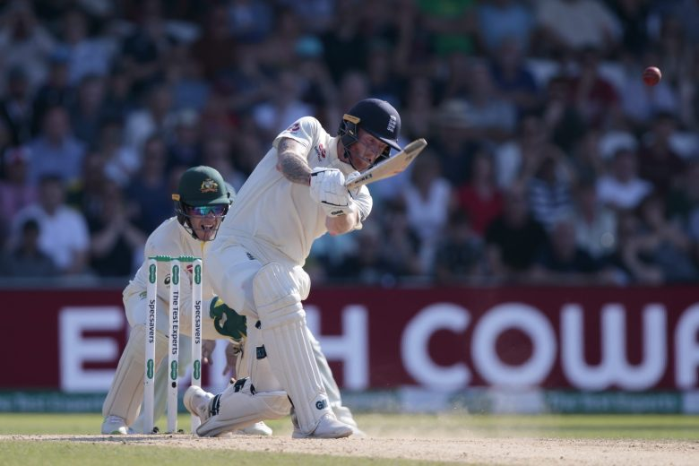 England's Ben Stokes hits Australia's Nathan Lyon for 6 on the fourth day of the 3rd Ashes Test cricket match