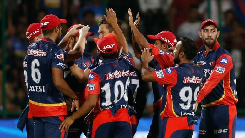 Delhi Daredevils' celebrates the wicket of Rajasthan Royals' Sanju Samson