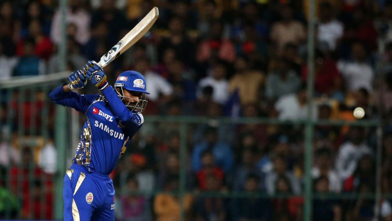 Mumbai Indians' Krunal Pandya plays a shot during the VIVO IPL Twenty20 cricket match against Royal Challengers Bangalore