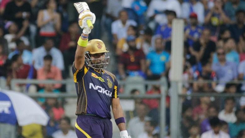 Kolkata Knight Riders' Robin Uthappa celebrates after scoring 50 runs during the VIVO IPL cricket T20 match against Mumbai Indian