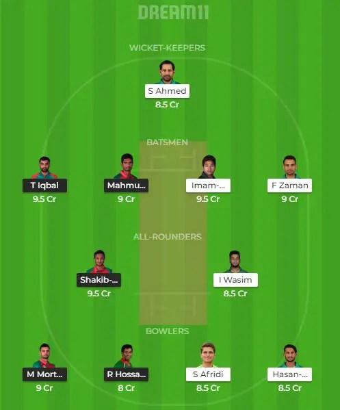 पाकिस्तान vs बंगलादेश ड्रीम 11