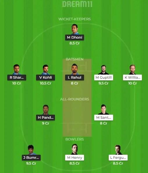 भारत vs न्यूजीलैंड; ड्रीम 11