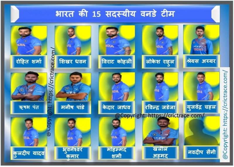 वनडे के लिए 15 सदस्यीय भारतीय क्रिकेट टीम