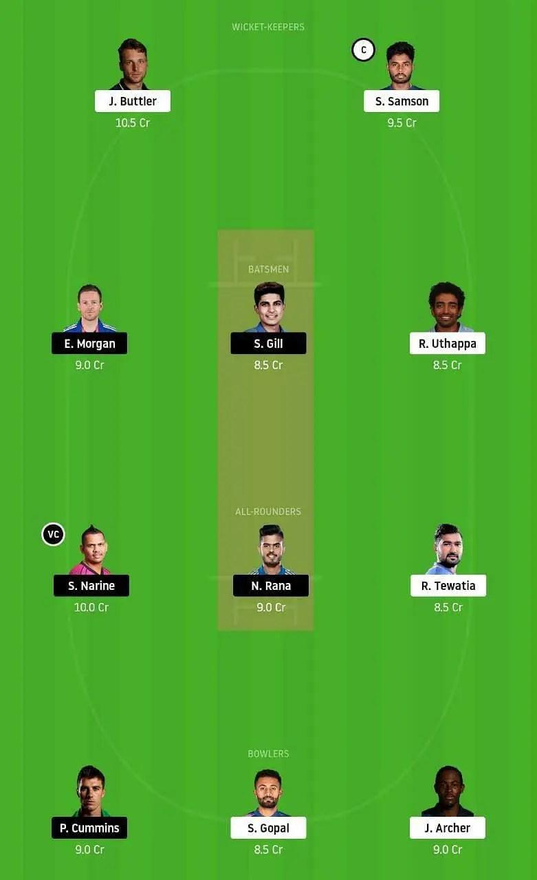 राजस्थान रॉयल्स vs कोलकाता नाईट राइडर्स संभावित ड्रीम 11 टीम: