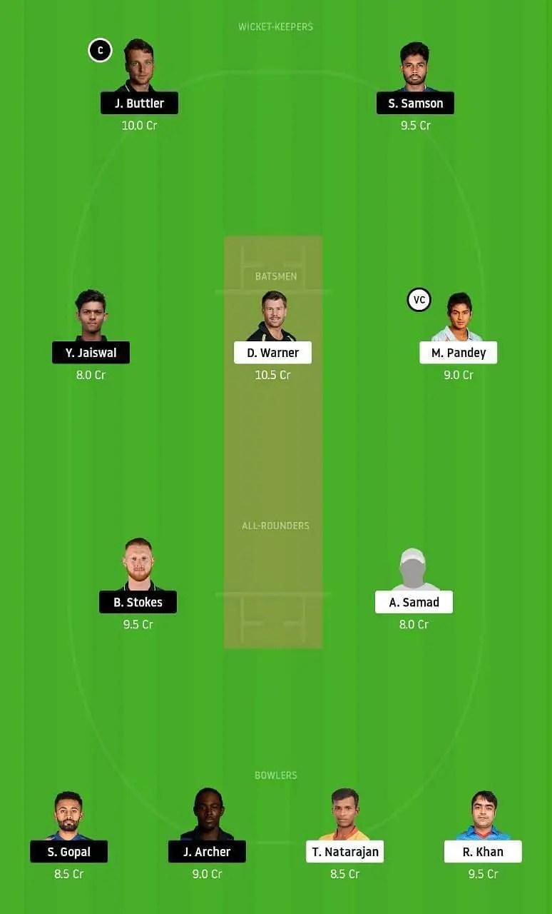 राजस्थान vs हैदराबाद संभावित ड्रीम 11 टीम