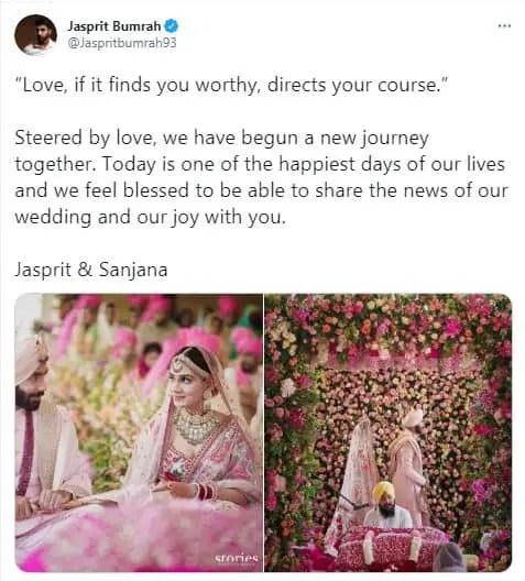 jasprit bumarah with his wife sanjna ganeshan