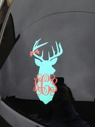 Love this monogram deer head car sticker. I want one of these!
