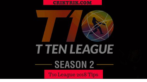 T10 League 2018 match predictions