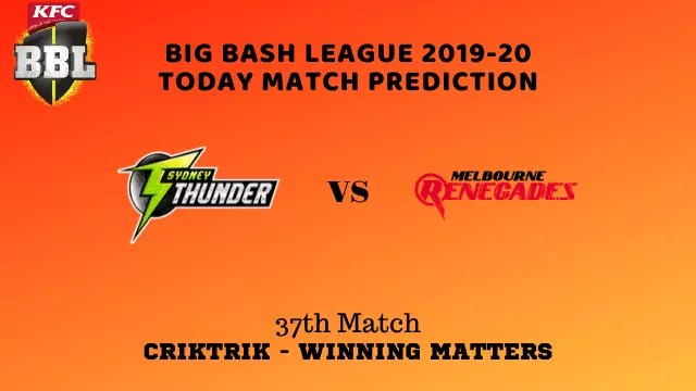 syt vs mlr prediction match37 BBL 2019 20 - SYT vs MLR Today Match Prediction - 37th T20, Big Bash League 2019-20