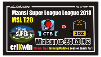 Who Win Today Jozi Stars vs Cape Town Blitz MSL 2018 9th Match