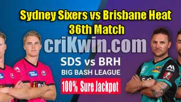 BRH vs SYS Today Match Reports BBL 36th 100% Sure Match Prediction