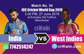 WI vs Ind 34th Match World Cup 2019 Winner Astrology Predict
