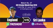 Sl vs Eng 27th Match World Cup 2019 Winner Astrology Predict