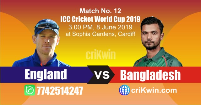 World Cup 2019 England vs Bangladesh 12th Match Win Prediction